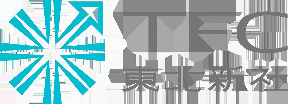 東北新社のロゴ。矢印は秋田を指している