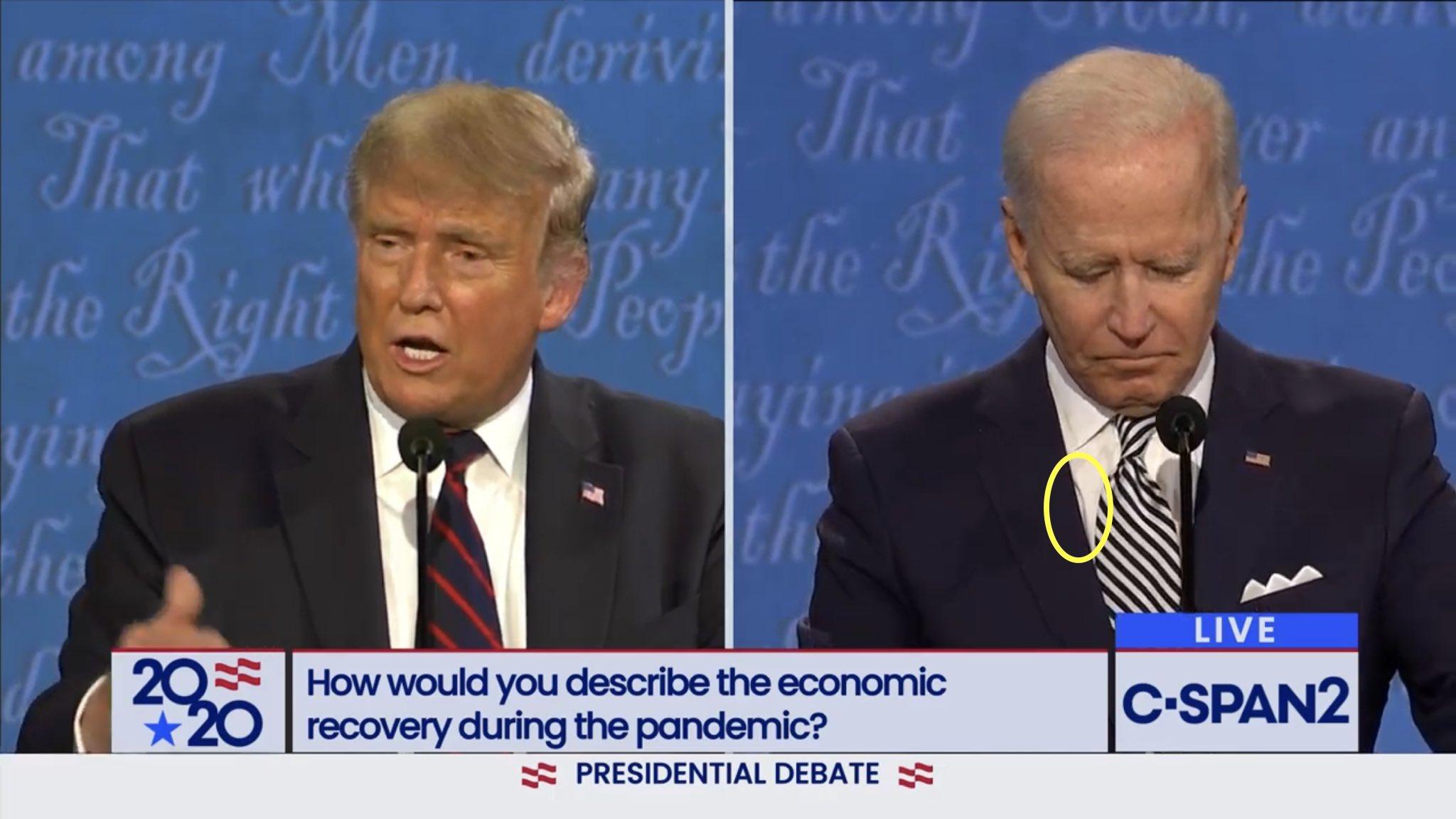 大統領選のテレビ討論会でバイデンにイヤホン装着疑惑