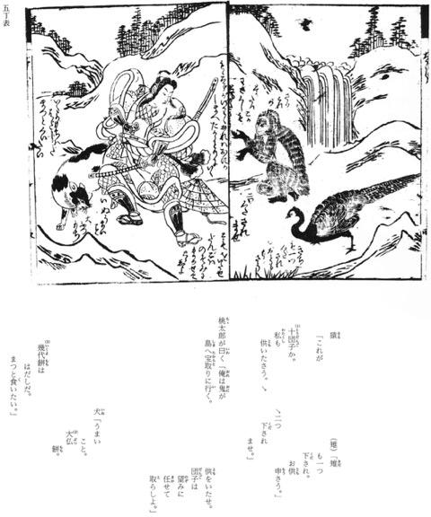 江戸時代の桃太郎昔語(初期草双紙)