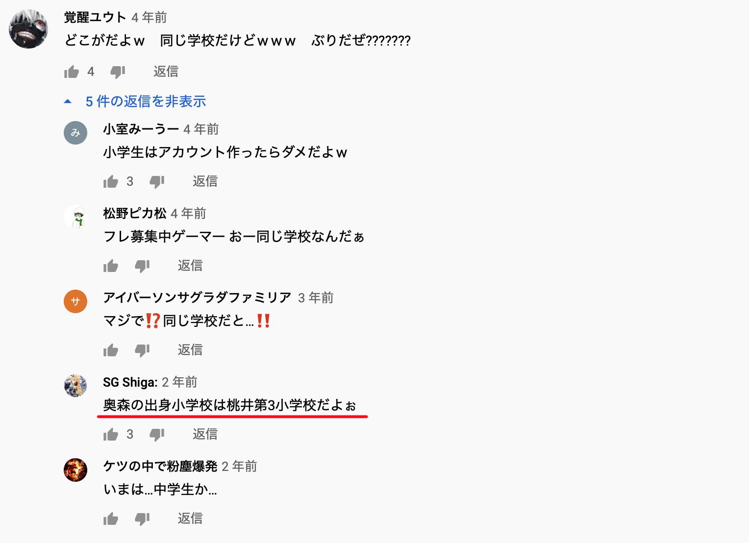 奥森皐月は桃井第三小学校出身?