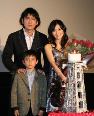 映画「サイレン」で共演した市川由衣と田中直樹(ココリコ)と西山潤。
