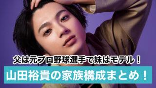 【顔画像】山田裕貴の父親はプロ野球選手で妹はモデル!母は天然美人?