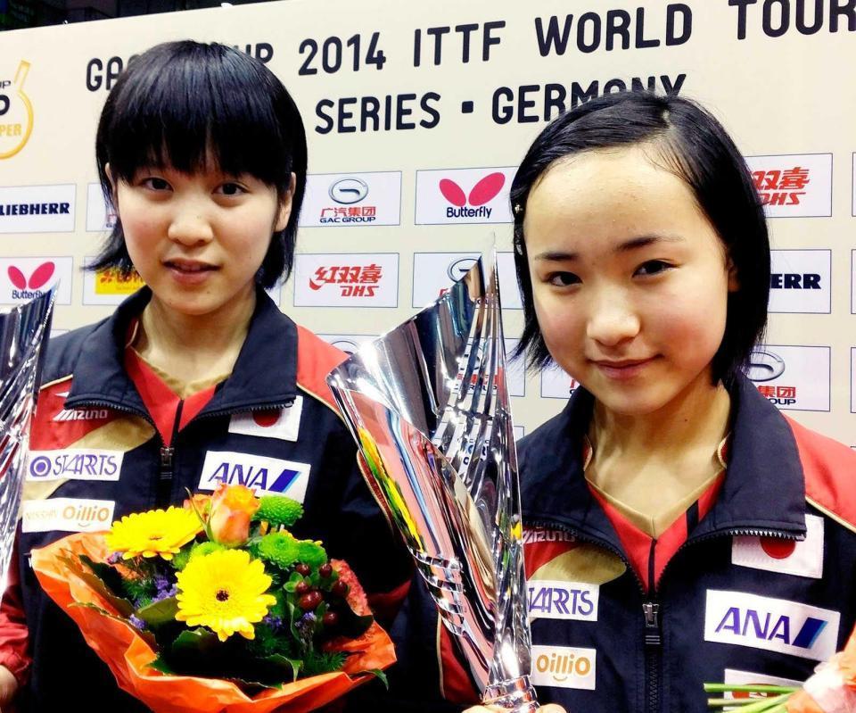 2014年、平野美宇と伊藤美誠のペアでワールドツアーのドイツ、スペインオープンで連続優勝。ワールドツアー女子ダブルスの最年少優勝でギネス認定を受けた